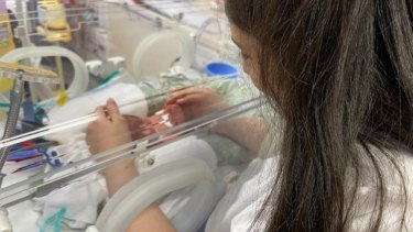 Mum Sarah Haidar and meets baby Ilyas for the first time.