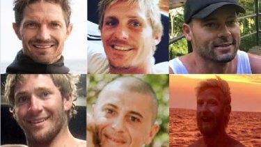 The six fishermen (left to right). Top: Ben Leahy, Adam Hoffman and Eli Tonks. Bottom: Zachary Feeney, Chris Sammut and Adam Bidner.