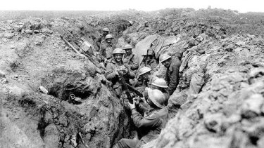 Australians in the second line of the trenches before Riencourt (near Bullecourt), in May 1917.