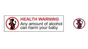 The proposed new pregnancy warning label, and pictogram for bottles sized 200ml or less.