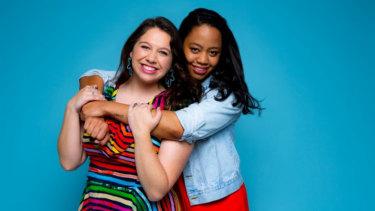 Natalie Abbott as Muriel and Elizabeth Esguerra as Rhonda.