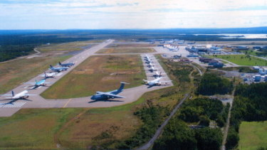 Planes banked up on the runway at Gander after the terrorist attacks of September 11, 2001 temporarily closed American airspace.