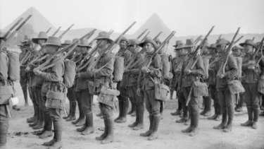 Australian troops get ready to leave the training camp at Mena, Egypt.