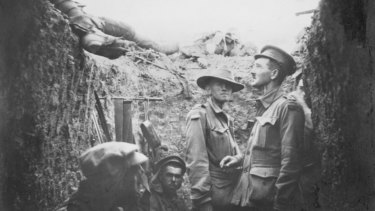 Australian soldiers in a trench at Lone Pine, Gallipoli.