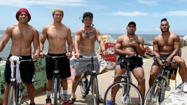 New home: Christian Crichton (far right) on a Bulldogs pre-season camp with his new teammates.