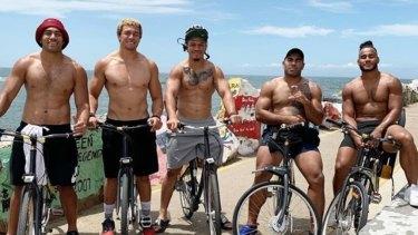 New home: Christian Crichton (far right) on a Bulldogs pre-season camp with his new teammates.