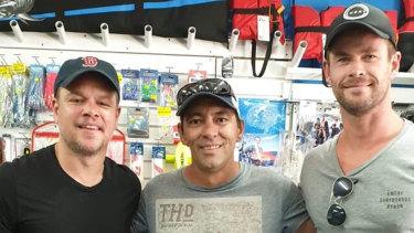 Chris Hemsworth and Matt Damon at a tackle shop in Carnarvon.