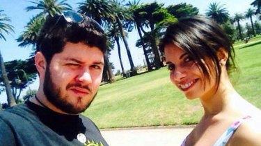 Cyclist Alberto Paulon and his fiancee Cristina Canedda. Mr Paulon was killed in a 'dooring' incident.