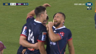 Quade Cooper had some fun with the Brumbies crowd.