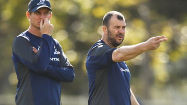 Behind you all the way: Sacked Wallabies assistant Stephen Larkham (left) and head coach Michael Cheika.