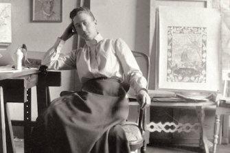 Hilma af Klint at her studio at Hamngatan 5, Stockholm, circa 1895.