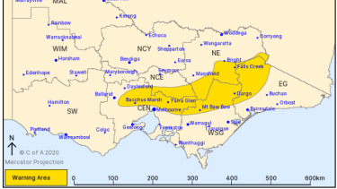 The Bureau of Meteorology issued a severe weather warning for damaging winds.