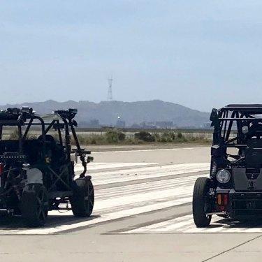 Zoox's prototype looks like a dune buggy.