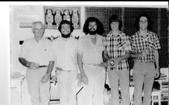 The FitzSimons family at Christmas, 1976. From left,Peter FitzSimons snr,David (born 1948), Andrew (born 1952), Peter jnr (1961) and James (1956).