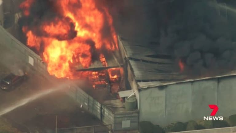 A factory fire in burning out of control in Kilsyth.