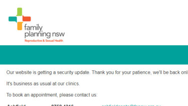 The message on the Family Planning NSW website on Monday.