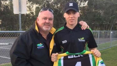 Brett Beasley and his son Jack Beasley, who was killed in a double stabbing on the Gold Coast.