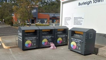 The body of Charmaine O'Shea was found in one of these charity bins at Burleigh Heads.