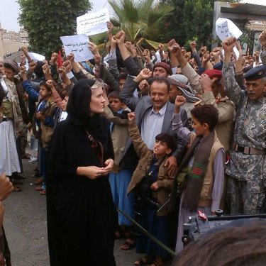 Sophie McNeill at a 2016 Houthi rally in Yemen. She hopes people will no longer look away from what's happening in other countries.