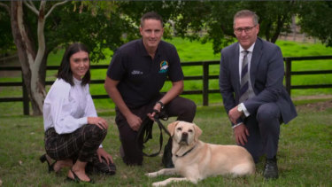 Racing NSW chief investigator Jacqueline Johnstone, handler Jared Rodger, chief steward Marc Van Gestel and Bear, the Racing NSW sniffer dog.