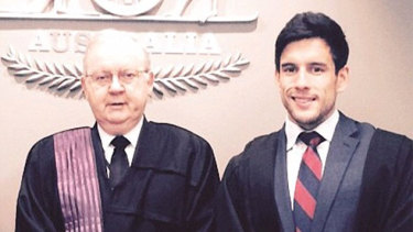 James Cowled (right) with Federal Circuit Court Judge Michael Lloyd-Jones.