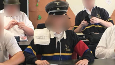 The students were given Nazi uniform to wear.