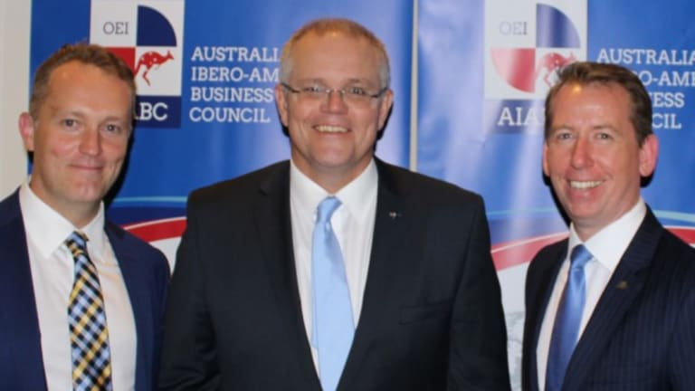 (L-R) AIABC board member Shaun Cartwright, Prime Minister Scott Morrison, and John Margerison, AIABC founding director.