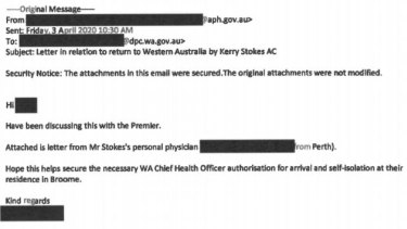 The federal minister personally sent Mr Stokes' doctor's letter to WA Premier Mark McGowan's chief of staff Guy Houston 'hoping' it secured him authorisation to quarantine in Broome.