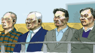 From left to right: Choi Dong Song, Man Sun Song, Man Jin Ri and Ju Chon Ri in the Supreme Court, Melbourne. Illustration by Matt Davidson