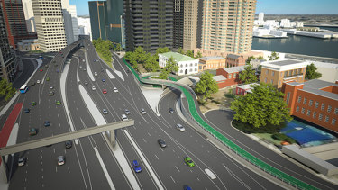 An artist's impression of the 2016 proposedcycle ramp on the opposite side of the freeway.