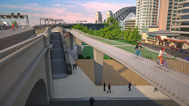 An artist's impression of the 2016 proposedcycle ramp at the northern end of the Sydney Harbour Bridge.
