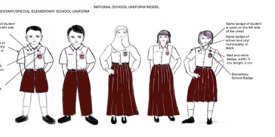 The dress code for elementary schools in Indonesia, released in 2014.