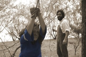 Fiona Foley's The Oyster Fisherman 13 (2011) tells of an Aboriginal woman abducted by fishermen.