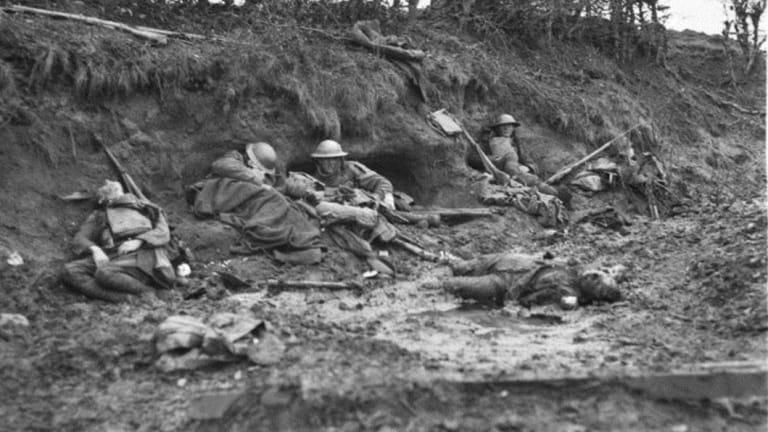 The dead and wounded on Broodseinde Ridge during the battle of Passchendaele