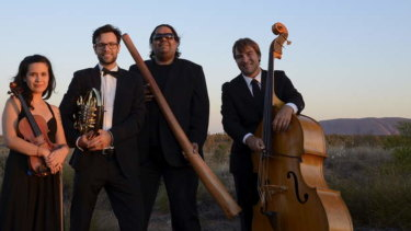Didgeridoo player William Barton (third from left) will play with William Crighton at The Zoo on Thursday.