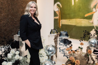 Donna Kahlbetzer at her Vaucluse home for the launch of the Donna Forbes range of illuminated purses.