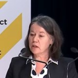 Director of Public Health Dr Caroline McEnlay speaks at the media conference.