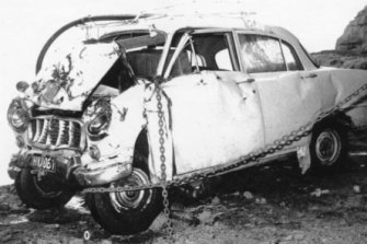 The bodies of four Crawford family members were found in this car on Victoria's south-west coast in 1970.