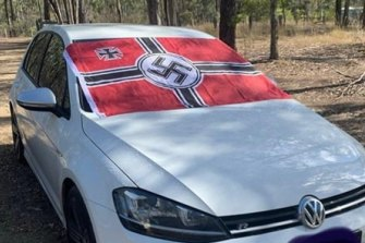 A photo posted on social media in 2020 of a vehicle displaying a Nazi flag outside Gladstone.