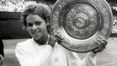 Evonne Goolagong Cawley in 1971. She beat fellow Australian Margaret Court to win the Wimbledon Singles Championship.