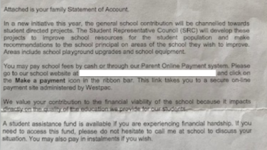 'Attached is your family Statement of Account': the NSW P&C says schools are issuing parents with invoices for voluntary fees that don't make it clear that they are optional.