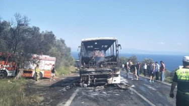 A bus full of Australian and New Zealand travellers burst into flames in Turkey.