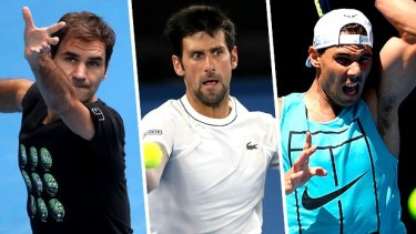 Roger Federer, Novak Djokovic and Rafael Nadal have 55 grand slam titles between them.