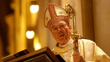 Cardinal George Pell speaks at a mass at St Mary's Cathedral in Sydney in 2014.