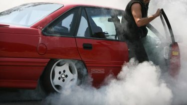 The bitumen mix rapidly destroys car tyres when the driver tries to skid or perform a burn-out.