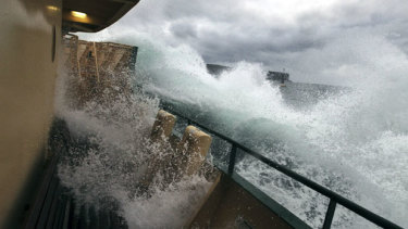 A Freshwater ferry endures large swells on the Manly route.
