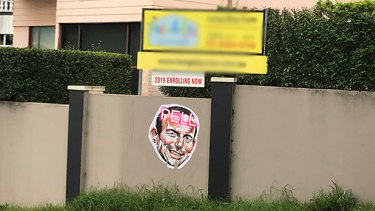Offensive Tony Abbott signs have been spotted around Sydney's northern suburbs.