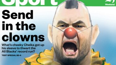 Caricature: It's not the first time Michael Cheika has taken a jab from across the ditch, with The New Zealand Herald portraying him as a clown in 2016.