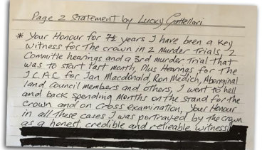 The first half of Lucky Gattellari's letter.