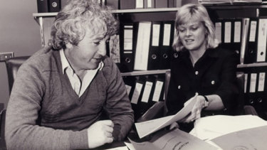 "Iola Mathews (right) with ACTU Secretary Bill Kelty launching the ""Action Program for Women Workers"", October 1984."